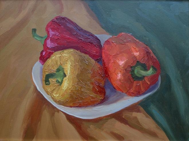 Картина маслом на холсте Три цвета перца.