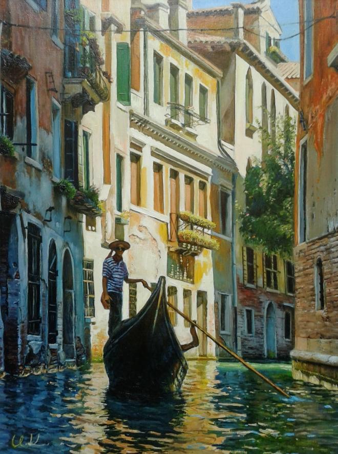Картина маслом По каналам Венеции