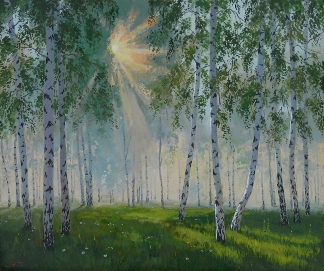 Утро в березовом лесу