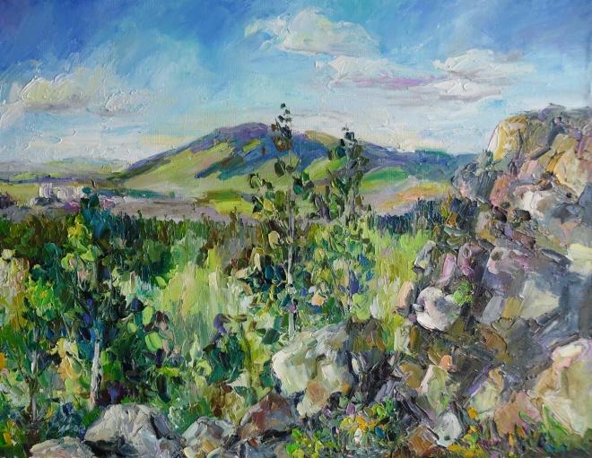 Вид на гору Качканар с горы Жуков камень