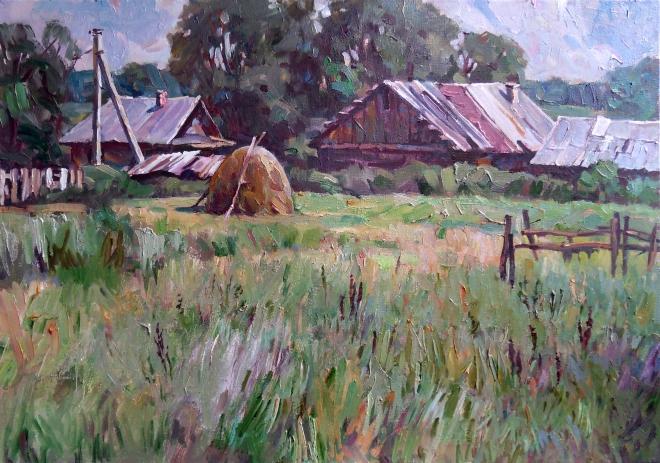 Картина маслом Деревенский пейзаж