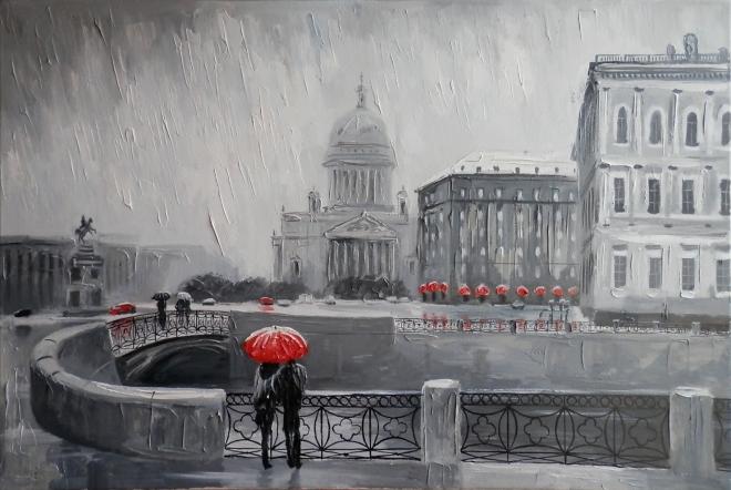 Вид Исаакия от набережной Мойки в дождь