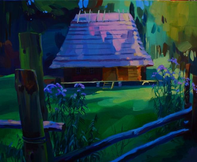 В тени. Село.