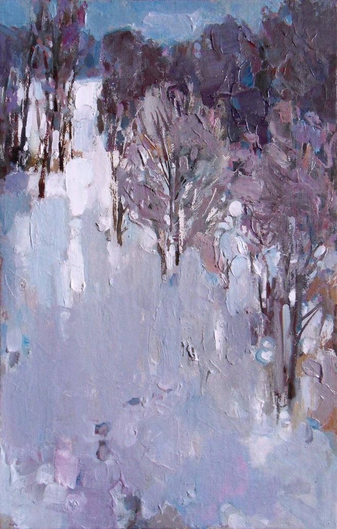Картина маслом Следы на снегу