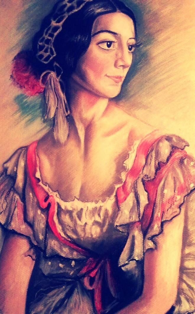 Портрет балерины В.К. Ивановой в костюме испанки