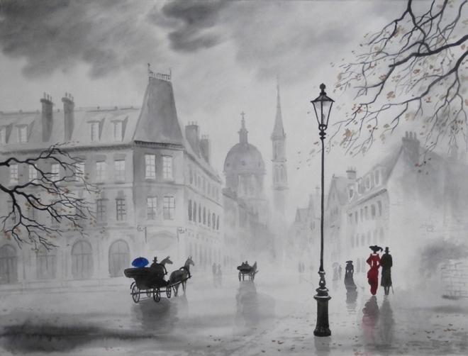 Картина Туман в старом городе.