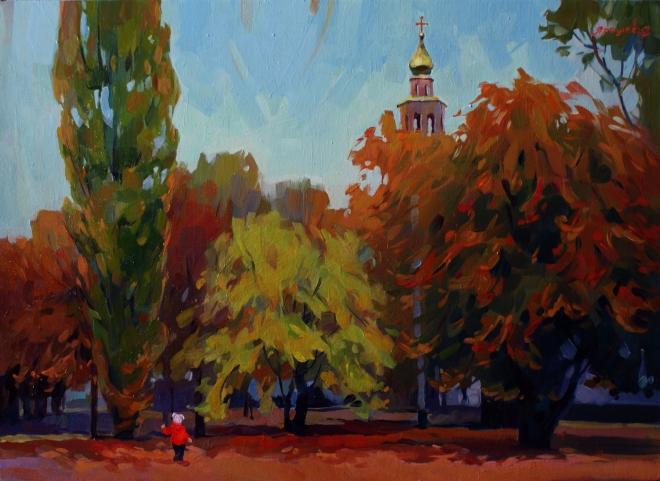 """Картина маслом """"Осень. Город в огне"""""""