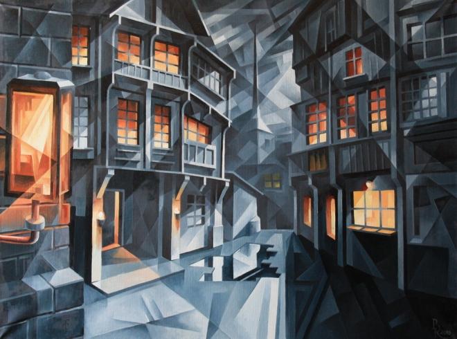 Картина маслом на холсте Город. Кубофутуризм