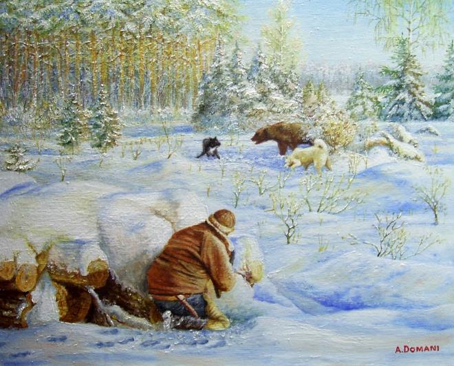 Картина маслом Валет , Дамка и МЕДВЕДЬ