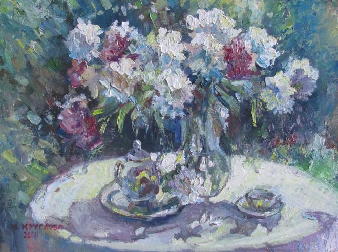 Картина маслом Пионов цвет
